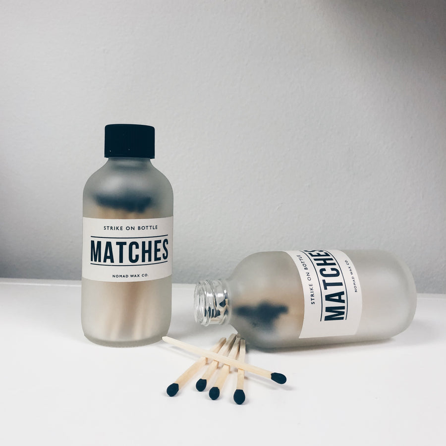 Hand Cut Wooden Matches in Frosted Bottle