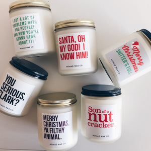 Holiday Movie Quote Vegan Scented Soy Candle + Matches Gift Set