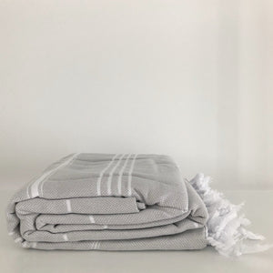 Modern Stripe Turkish Cotton Fouta Blanket in Mist Gray