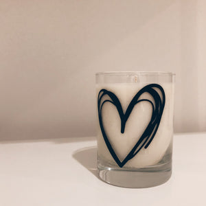 Scribbly Heart - 13 oz - Rocks Tumbler Vegan Scented Soy Candle