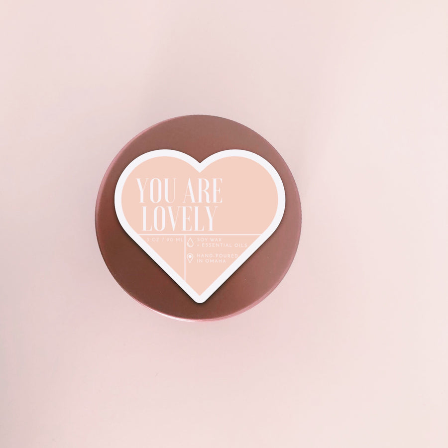 You Are Lovely - 3 oz. - Valentine's Rose Gold Travel Tin Candle