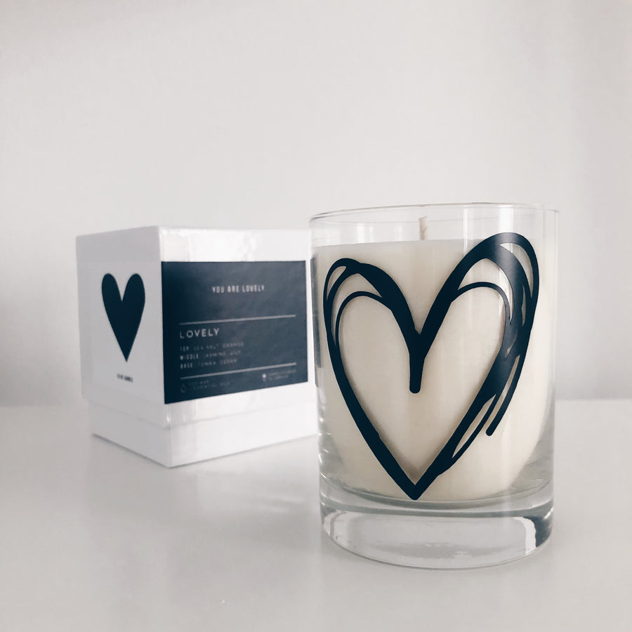 Scribbly Heart - 13 oz - Rocks Tumbler Valentine Scented Soy Candle