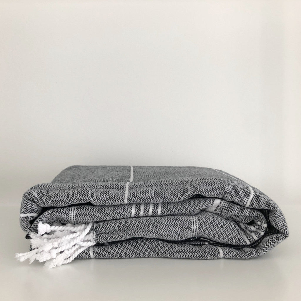 Modern Stripe Turkish Cotton Fouta Blanket in Black
