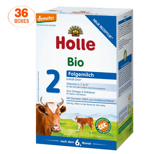 Holle Cow Stage 2 Organic (Bio) Follow-on Infant Milk Formula (600g), 36 Boxes