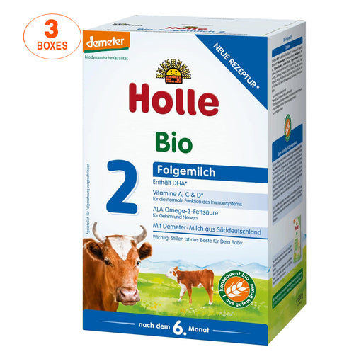 Holle Cow Stage 2 Organic (Bio) Follow-on Infant Milk Formula (600g), 3 Boxes