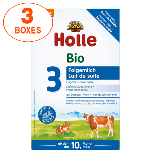 Holle Cow Stage 3 Organic (Bio) Baby Milk Formula (600g), 3 Boxes