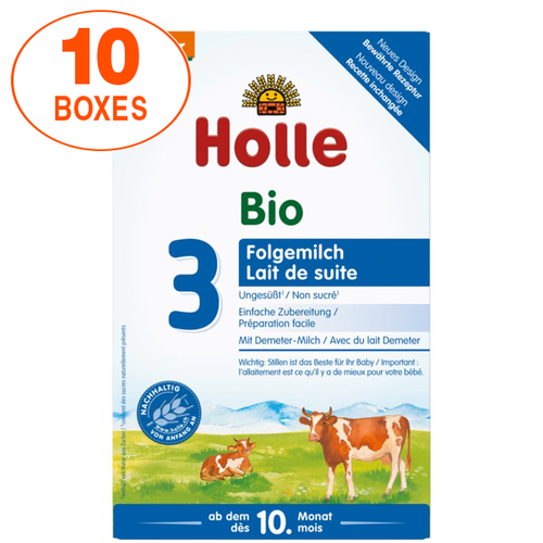 Holle Cow Stage 3 Organic (Bio) Baby Milk Formula (600g), 10 Boxes