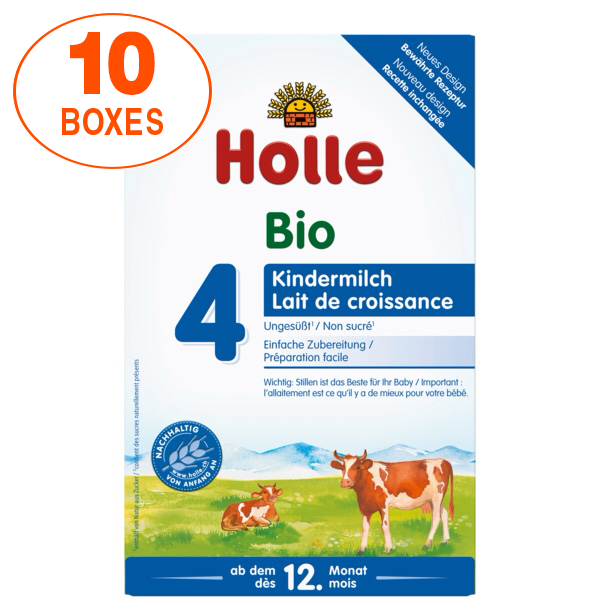 Holle Cow Stage 4 Organic (Bio) Toddler Milk Formula (600g), 10 Boxes