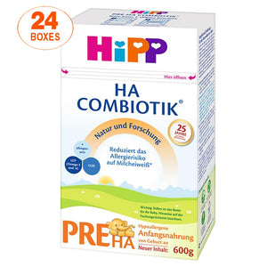 HiPP Hypoallergenic (HA) Stage PRE Combiotic Formula (600g) – German Version 24 BOXES