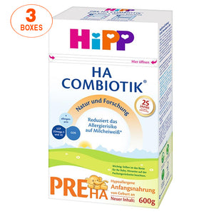 HiPP Hypoallergenic (HA) Stage PRE Combiotic Formula (600g) – German Version 3 BOXES