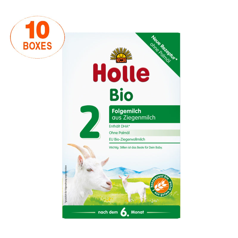 Holle Goat Stage 2 Organic (Bio) Follow-on Infant Milk Formula (400g), 10 Boxes