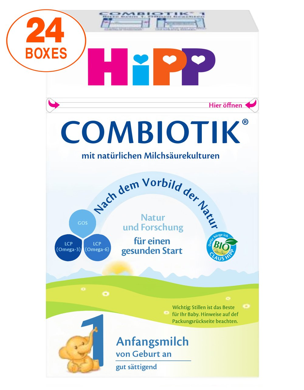 HiPP Stage 1 Organic (Bio) Combiotic Infant Milk Formula (600g) - German Version 24 BOXES