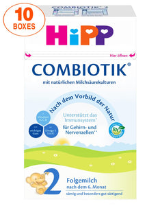 HiPP Stage 2 Organic (Bio) Combiotic Infant Milk Formula (600g) - German Version 10 BOXES