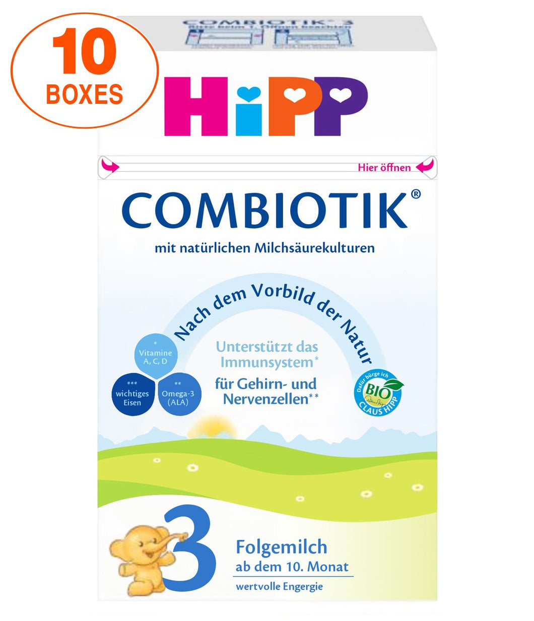 HiPP Stage 3 Organic (Bio) Combiotic Infant Milk Formula (600g) - German Version 10 BOXES