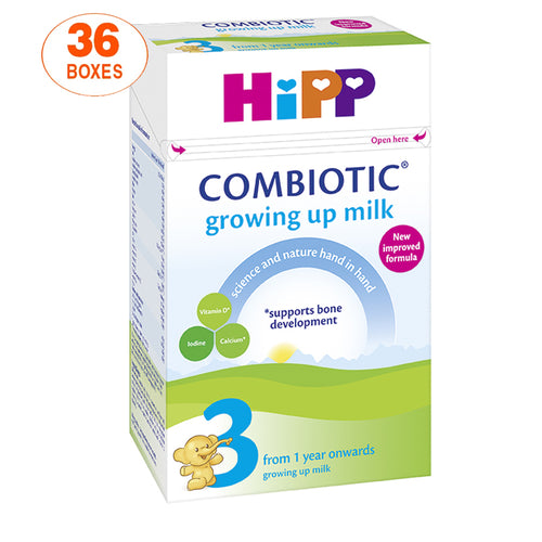 HiPP Stage 3 Combiotic Growing Up Baby Milk Formula (600g) - UK Version, 36 Boxes
