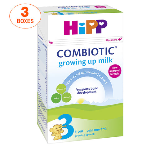 HiPP Stage 3 Combiotic Growing Up Baby Milk Formula (600g) - UK Version, 3 Boxes