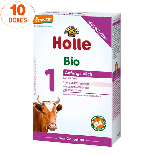 Holle Cow Stage 1 Organic (Bio) Infant Milk Formula (400g), 10 Boxes