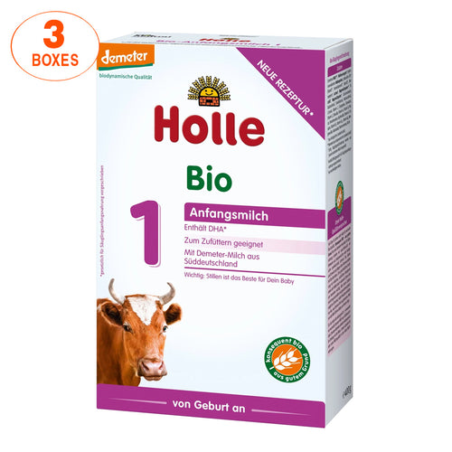 Holle Cow Stage 1 Organic (Bio) Infant Milk Formula (400g), 3 Boxes
