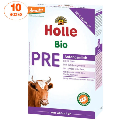 Holle Cow Stage PRE Organic (Bio) Infant Milk Formula (400g), 10 Boxes