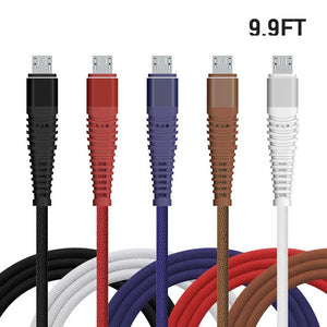 10ft Mermaid Braided Mesh Cable fast Charging for iPhone iPad Android Micro V8 Type C