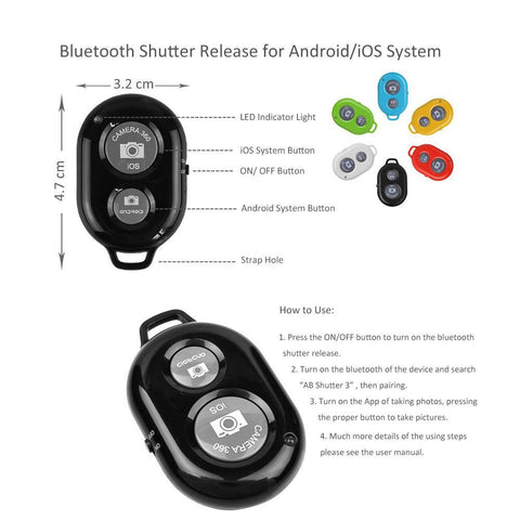 Wireless Bluetooth remote camera shutter button for iPhone android
