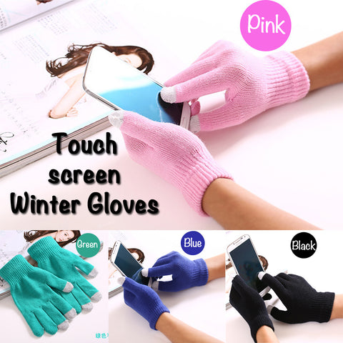 Wholesale soft winter knitted gloves touch screen for iPhone smartphone samsung