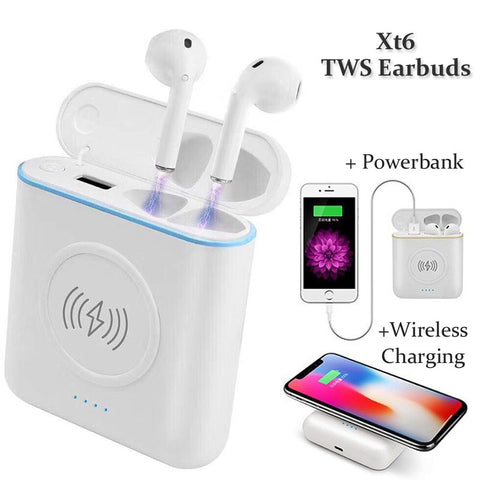 XT6 TWS Wireless Bluetooth Earbuds with powerbank Charging case