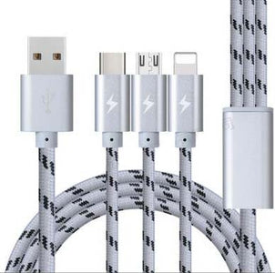 9FT(3M) XL Long Braided 3 in 1 USB Cable Charger for iPhone android V8 Type C