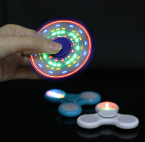 Wholesale China LED Light Hand Finger Spinner Fidget Plastic EDC Hand Spinner For Autism and ADHD Relief Focus Anxiety Stress Toys Gift Shipping