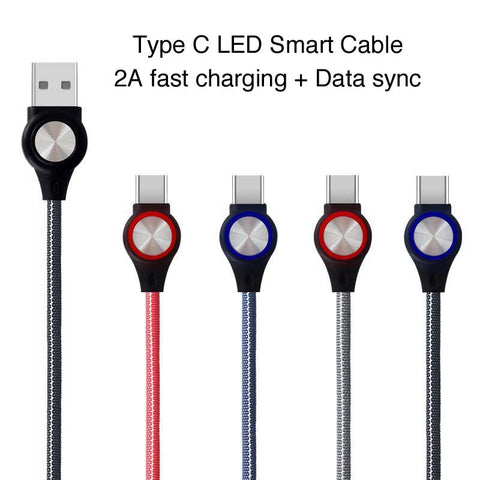 Image of Smart LED Fabric braided usb Type C cable charger