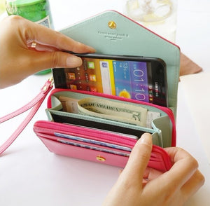 Factory direct supplier wholesale leather wallet phone case purse pouch for women