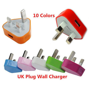 UK 3pin Colorful 5V 1A Single usb Home Wall charger AC plug power adapter for smart phones with IC Overcharge protection