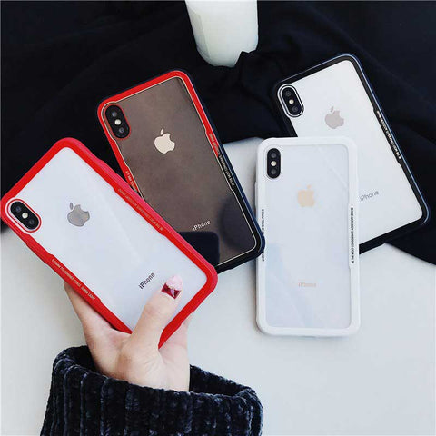 Image of Premium Silicone Hard Transparent Glass Case for iPhone 9 X s 7 8 6s Plus