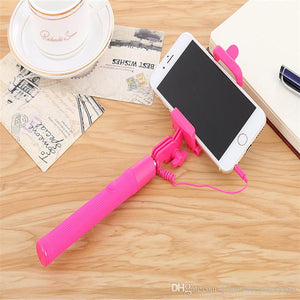 Full Color Long Wired Selfie Stick with remote camera button monopod for smartphone