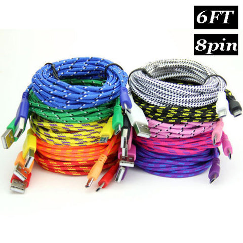 Image of 6ft 2m Long Nylon braided fabric rugged usb cbale for iphone