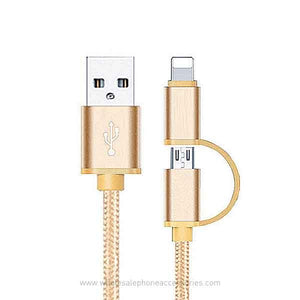 2 in 1 Fabric Braided 2A Fast Charging USB Cable for iPhone Android Type C 3ft (1M)