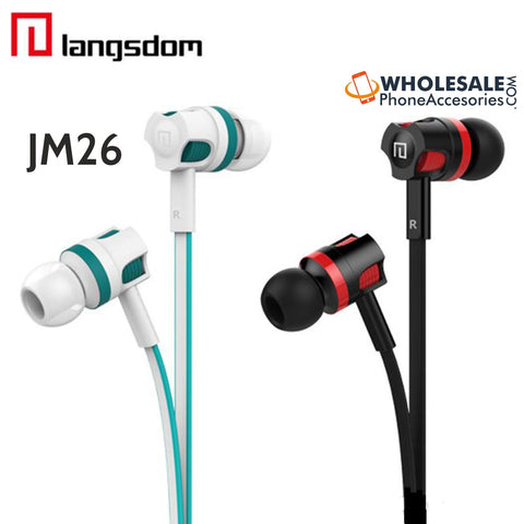 China Wholesale Supplier Langsdom JM26 Flate Wire Earphones Headphones with Mic