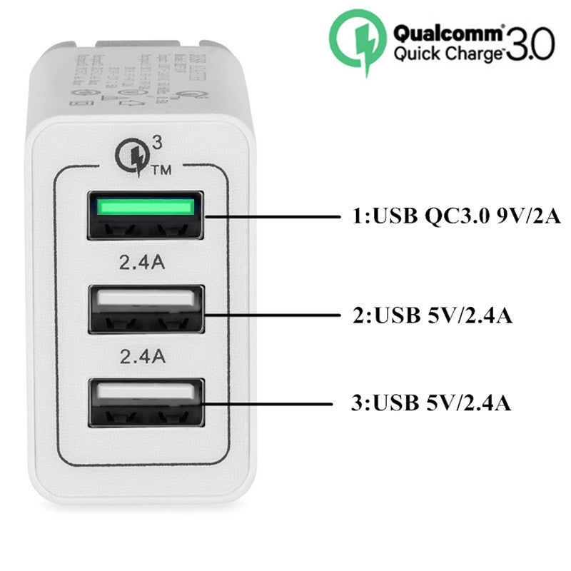 China Supplier Qualcomm Quick Charger QC3.0 3 USB Port Fast Rapid Wall Charger US EU UK Turbo Travel Adapter Mains Plug Cheap Price Wholesale USA Distributor Factory Bulk Lots Manufacturer 2