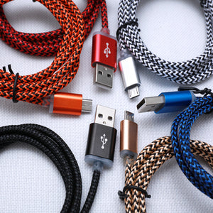 Wholesale 2A Fast Charging Fabric Braided Rugged Durable USB Cable Charger for iPhone Android V8 Type C Devices
