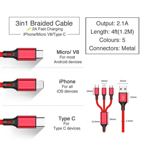 Image of 4ft 3in1 2A Fast Charging Braided Cable for iPhone V8 Android Type C