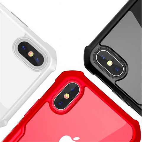 Premium Silicone Hard Transparent Glass Case for iPhone 9 X s 7 8 6s Plus