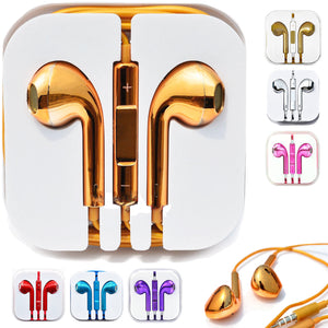 Wholesale chromeplated earbuds EarPods earphones for iphone ipod gold plated