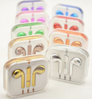 Newest Colorful Electroplated Earphones OEM Headphones with Volume Control & Mic for Iphone iPad