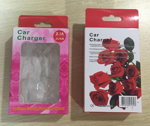 Image of rose flower design car charger in retail packing wholesale bulk lots