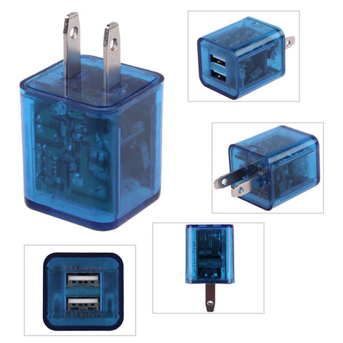 Transparent led light color changing usb wall travel charger plug adapter for usa wholesale bulk lot supplier
