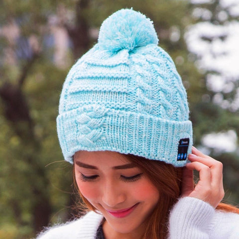 Image of WOmens Womens pom pom beanie hat winter cap bluetooth wireless