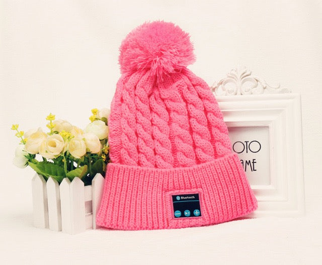 Womens pom pom beanie hat winter cap bluetooth wireless wholesale