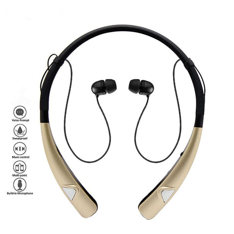 Image of Sleek HV-980 Bluetooth Headphones Wireless Neckband Headset HandsFree Stereo Earphones Noise Canceling with Mic