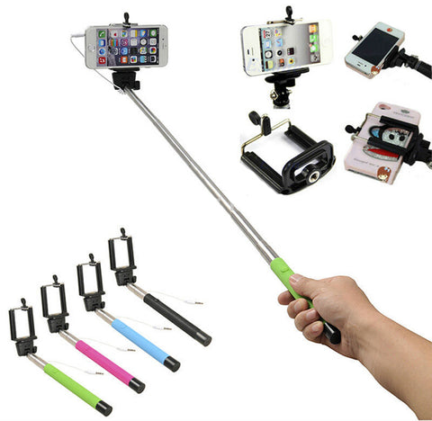 Image of extendable wired selfie stick holder for smartphones bulk lots