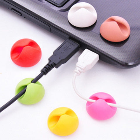 Image of Sticky silicon round on desk cable winders organizers for wires